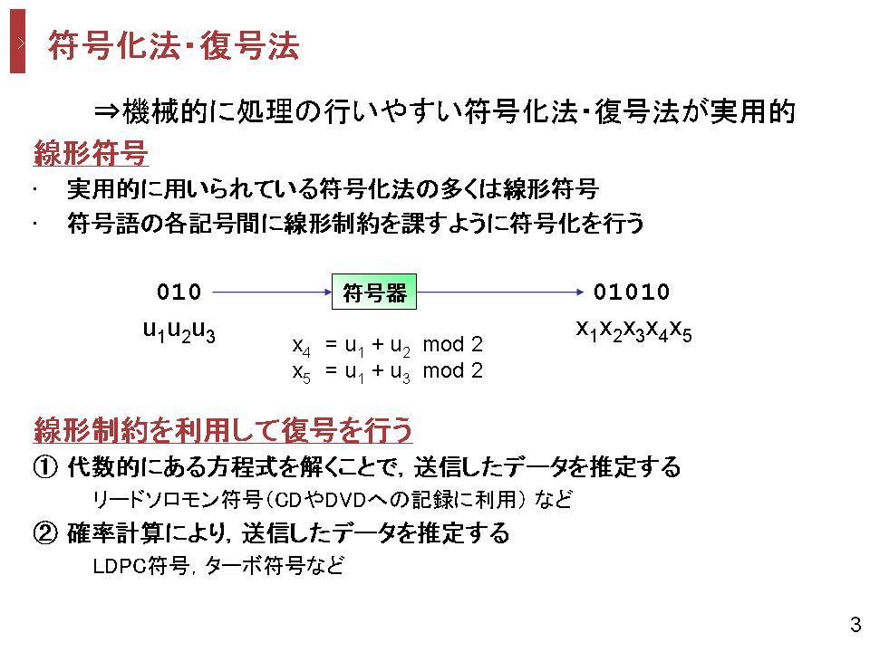 通信路符号化   早稲田大学 松嶋研究室   情報理論とその応用に関する研究